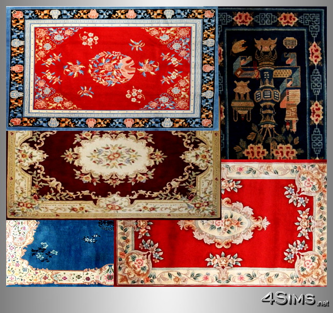 Antique Chinese Rug: Antique Chinese Rugs Collection, 5 Designs Included For
