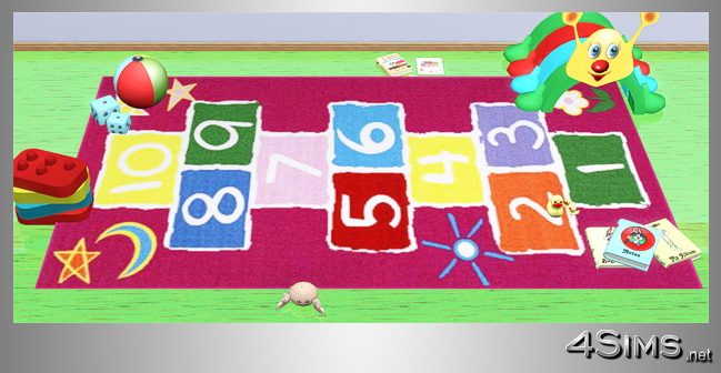 Interactive rugs for kids room, 5 designs for Sims 3 by 4Sims
