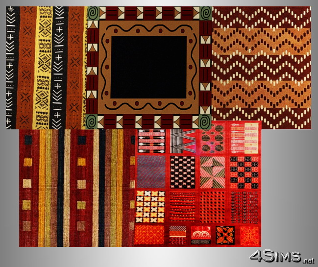 African Square Rugs Set 5 Styles Included For Sims 3 4sims