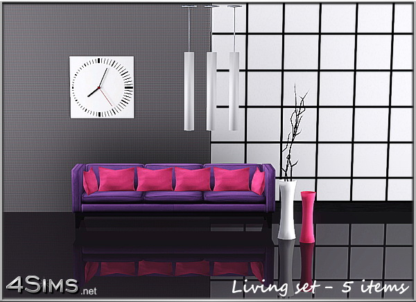 Modern living room set with 5 items for Sims 3 by 4Sims