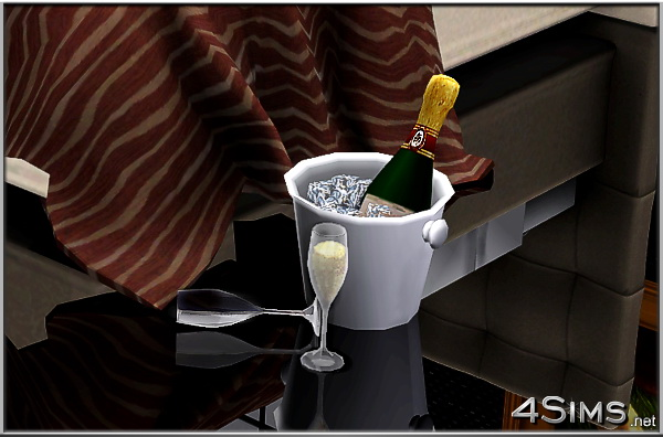 Champagne set including bottle, ice bucket and 2 glasses for Sims 3 by 4Sims