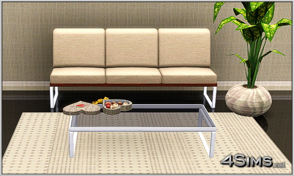 Modern Living Room set: 3 seats sofa plus glass coffee table for Sims 3 by 4Sims