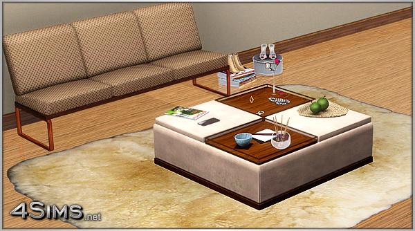 Ottoman coffee table with 2 decorative trays for sims 3 4sims Decorative trays for coffee tables