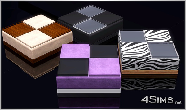 Ottoman coffee table with 2 decorative trays for Sims 3 by 4Sims