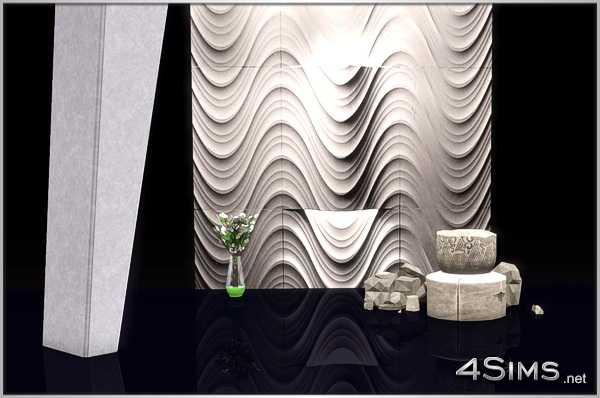 Waves and textured panels, background for interior decorations for Sims 3 by 4Sims