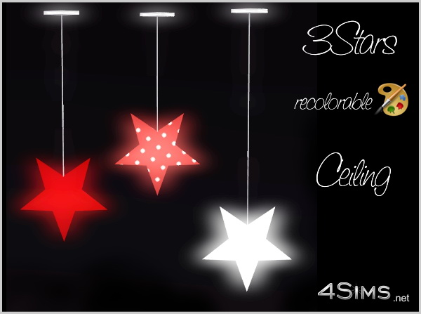 3 Stars Hanging Ceiling Light For Sims 3