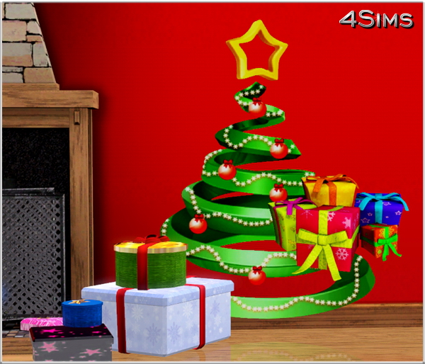 11 Christmas Trees Wall Decals For Sims 3