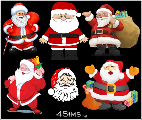 6 Santa Claus Wall Decals For Sims 3