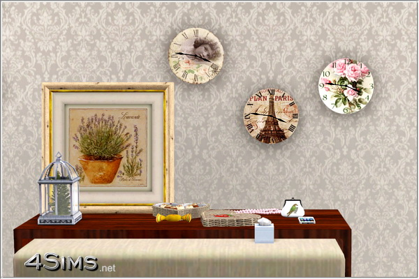 12 Functional Shabby Wall Clocks  for Sims 3 by 4Sims