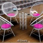 Round wire chairs and glass table, Sims 3 objects at 4Sims - 1