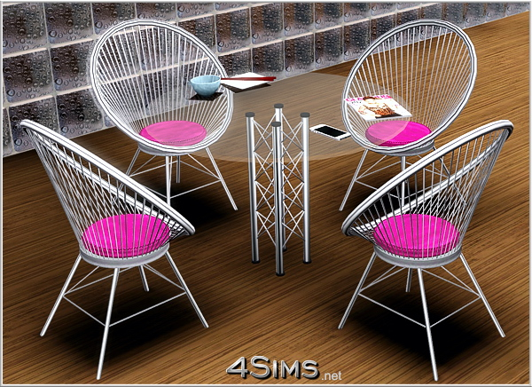 Round wire chair and glass table set for Sims 3 by 4Sims