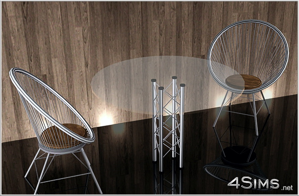 Round Wire Chair And Glass Table Set For Sims 3 4sims