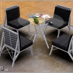 Wire dining room furniture set table and chair by 4Sims - 1