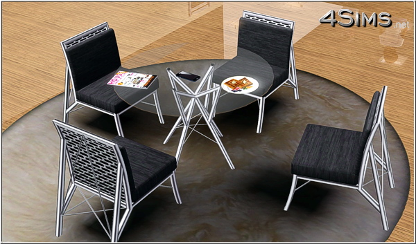 Wire dining room glass table and chair for Sims 3 by 4Sims